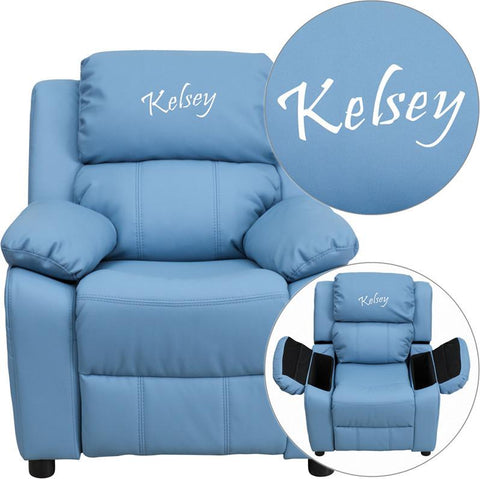 Flash Furniture BT-7985-KID-LTBLUE-EMB-GG Personalized Deluxe Heavily Padded Light Blue Vinyl Kids Recliner with Storage Arms & FREE Embroidery - Peazz Furniture