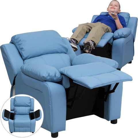 Deluxe Heavily Padded Contemporary Light Blue Vinyl Kids Recliner with Storage Arms BT-7985-KID-LTBLUE-GG by Flash Furniture - Peazz Furniture