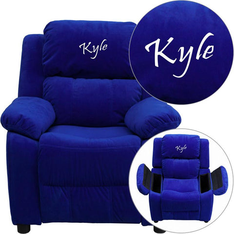 Flash Furniture BT-7985-KID-MIC-BLUE-EMB-GG Personalized Deluxe Heavily Padded Blue Microfiber Kids Recliner with Storage Arms - Peazz Furniture