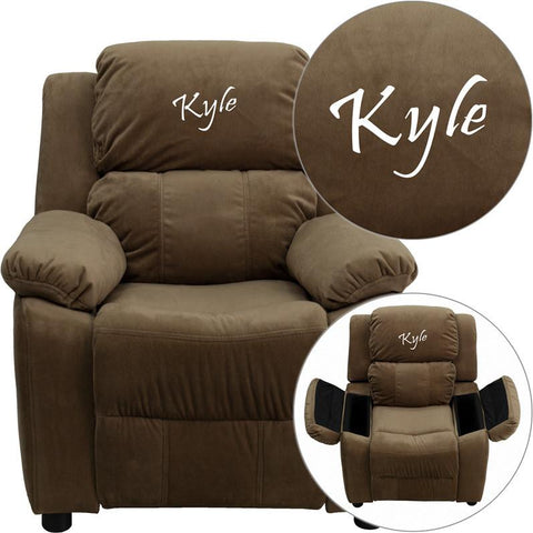 Flash Furniture BT-7985-KID-MIC-BRN-EMB-GG Personalized Deluxe Heavily Padded Brown Microfiber Kids Recliner with Storage Arms - Peazz Furniture