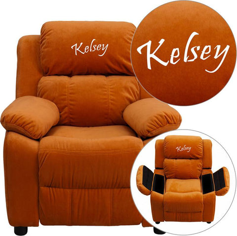 Flash Furniture BT-7985-KID-MIC-ORG-EMB-GG Personalized Deluxe Heavily Padded Orange Microfiber Kids Recliner with Storage Arms - Peazz Furniture