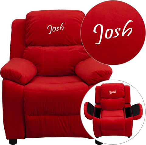 Flash Furniture BT-7985-KID-MIC-RED-EMB-GG Personalized Deluxe Heavily Padded Red Microfiber Kids Recliner with Storage Arms - Peazz Furniture