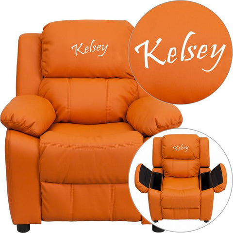 Flash Furniture BT-7985-KID-ORANGE-EMB-GG Personalized Deluxe Heavily Padded Orange Vinyl Kids Recliner with Storage Arms - Peazz Furniture