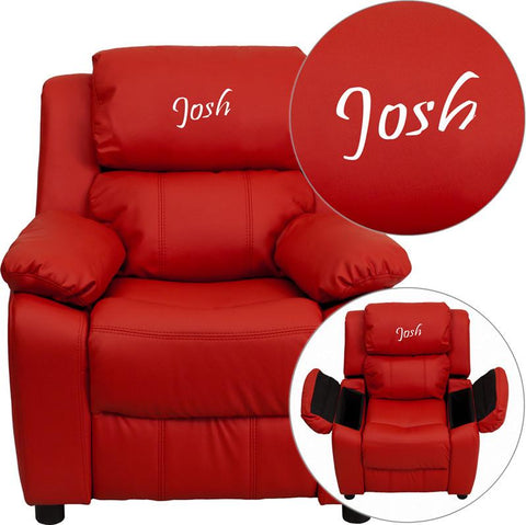 Flash Furniture BT-7985-KID-RED-EMB-GG Personalized Deluxe Heavily Padded Red Vinyl Kids Recliner with Storage Arms - Peazz Furniture