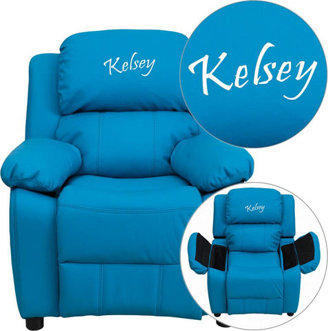 Flash Furniture BT-7985-KID-TURQ-EMB-GG Personalized Deluxe Heavily Padded Turquoise Vinyl Kids Recliner with Storage Arms - Peazz Furniture