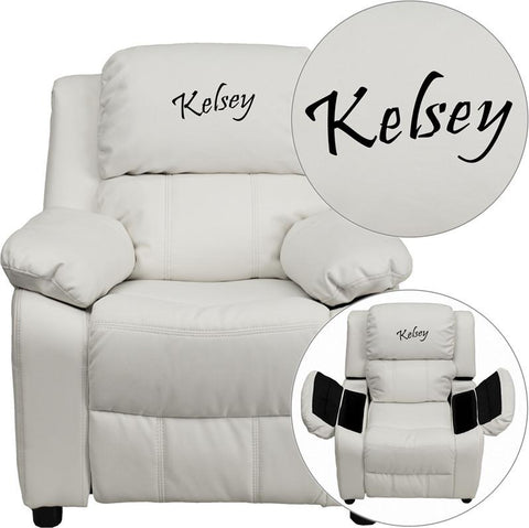 Flash Furniture BT-7985-KID-WHITE-EMB-GG Personalized Deluxe Heavily Padded White Vinyl Kids Recliner with Storage Arms - Peazz Furniture