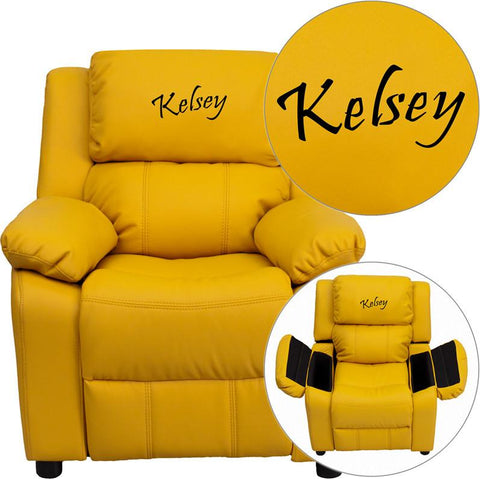Flash Furniture BT-7985-KID-YEL-EMB-GG Personalized Deluxe Heavily Padded Yellow Vinyl Kids Recliner with Storage Arms - Peazz Furniture