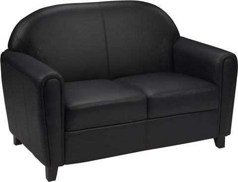 Flash Furniture BT-828-2-BK-GG HERCULES Envoy Series Black Leather Love Seat - Peazz Furniture