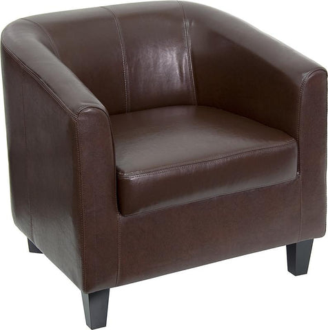 Flash Furniture BT-873-BN-GG Brown Leather Office Guest Chair / Reception Chair - Peazz Furniture