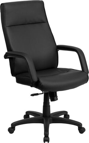 Flash Furniture BT-90033H-BK-GG High Back Black Leather Executive Office Chair with Memory Foam Padding - Peazz Furniture
