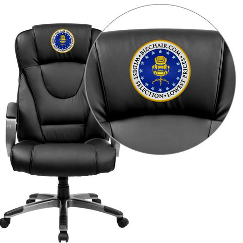 Flash Furniture BT-9069-BK-EMB-GG Embroidered High Back Black Leather Executive Office Chair - Peazz Furniture