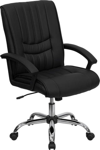 Mid-Back Black Leather Manager's Chair BT-9076-BK-GG by Flash Furniture - Peazz Furniture
