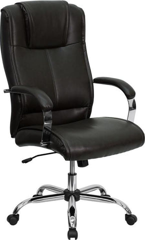 High Back Brown Leather Executive Office Chair BT-9080-BRN-GG by Flash Furniture - Peazz Furniture