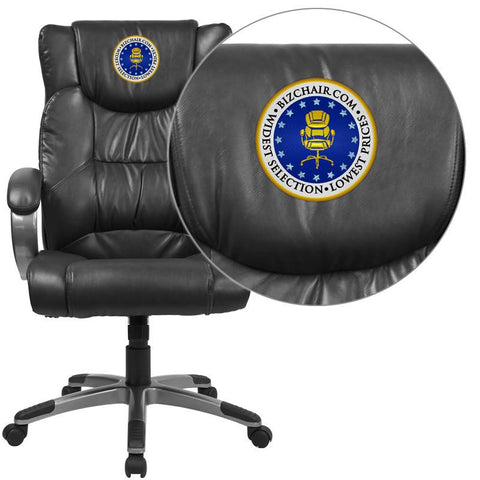 Flash Furniture BT-9088-BK-EMB-GG Embroidered High Back Black Leather Executive Office Chair - Peazz Furniture