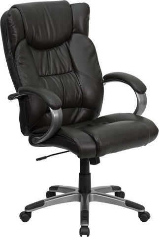 High Back Espresso Brown Leather Executive Office Chair BT-9088-BRN-GG by Flash Furniture - Peazz Furniture