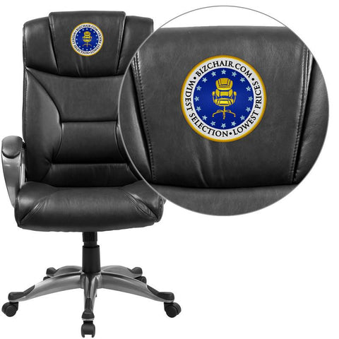 Flash Furniture BT-9177-BK-EMB-GG Embroidered High Back Black Leather Executive Office Chair - Peazz Furniture