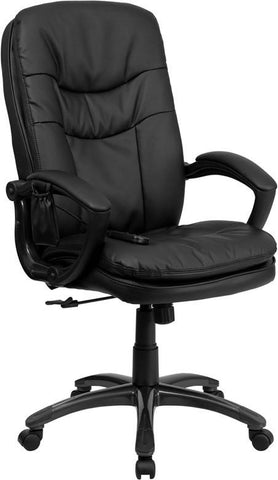 Flash Furniture BT-9585P-GG Mid-Back Massaging Black Leather Executive Office Chair - Peazz Furniture