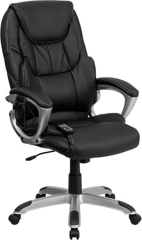 Flash Furniture BT-9806HP-2-GG High Back Massaging Black Leather Executive Office Chair with Silver Base - Peazz Furniture