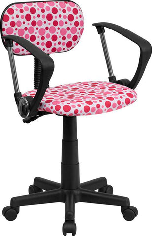 Flash Furniture BT-D-PK-A-GG Pink Dot Printed Computer Chair with Arms - Peazz Furniture