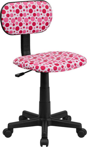 Flash Furniture BT-D-PK-GG Pink Dot Printed Computer Chair - Peazz Furniture