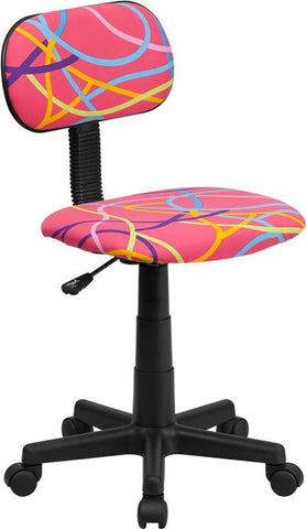 Flash Furniture BT-OLY-GG Multi-Colored Swirl Printed Pink Computer Chair - Peazz Furniture