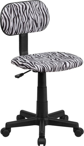 Flash Furniture BT-Z-BK-GG Black and White Zebra Print Computer Chair - Peazz Furniture