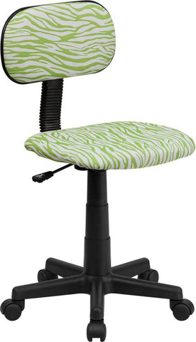 Flash Furniture BT-Z-GN-GG Green and White Zebra Print Computer Chair - Peazz Furniture