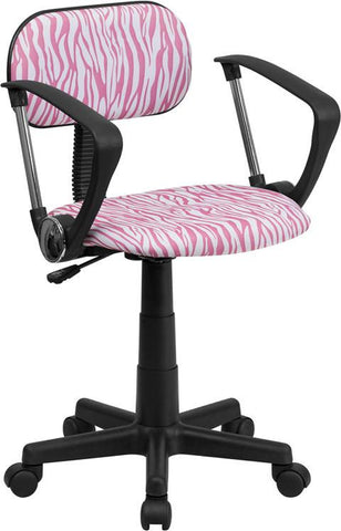 Flash Furniture BT-Z-PK-A-GG Pink and White Zebra Print Computer Chair with Arms - Peazz Furniture