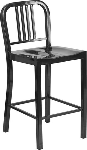 Flash Furniture CH-31200-24-BK-GG 24'' Black Metal Counter Height Stool - Peazz Furniture