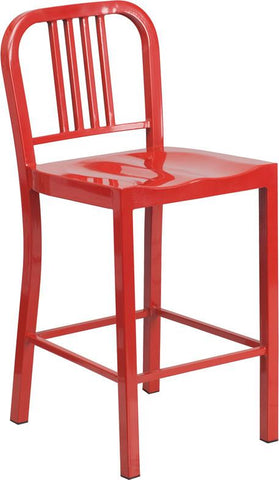Flash Furniture CH-31200-24-RED-GG 24'' Red Metal Counter Height Stool - Peazz Furniture