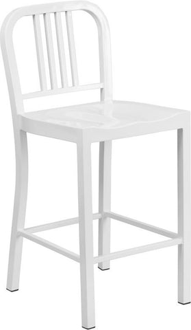 Flash Furniture CH-31200-24-WH-GG 24'' White Metal Counter Height Stool - Peazz Furniture