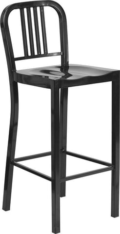 Flash Furniture CH-31200-30-BK-GG 30'' Black Metal Bar Stool - Peazz Furniture