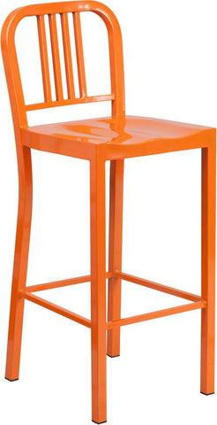 Flash Furniture CH-31200-30-OR-GG 30'' Orange Metal Bar Stool - Peazz Furniture