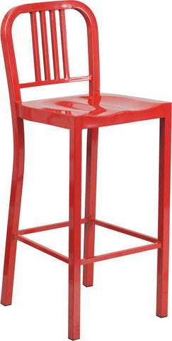 Flash Furniture CH-31200-30-RED-GG 30'' Red Metal Bar Stool - Peazz Furniture