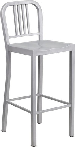 Flash Furniture CH-31200-30-SIL-GG 30'' Silver Metal Bar Stool - Peazz Furniture