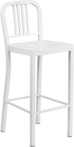 Flash Furniture CH-31200-30-WH-GG 30'' White Metal Bar Stool - Peazz Furniture