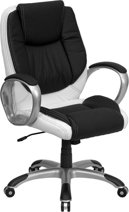 Mid-Back Black and White Leather Executive Swivel Office Chair CH-CX0217M-GG by Flash Furniture