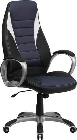 Flash Furniture CH-CX0243H-SAT-GG High Back Black Vinyl Executive Office Chair with Blue Mesh Insets - Peazz Furniture