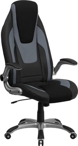 Flash Furniture CH-CX0326H02-GG High Back Black & Gray Vinyl Executive Office Chair with Black Mesh Insets and Flip Up Arms - Peazz Furniture