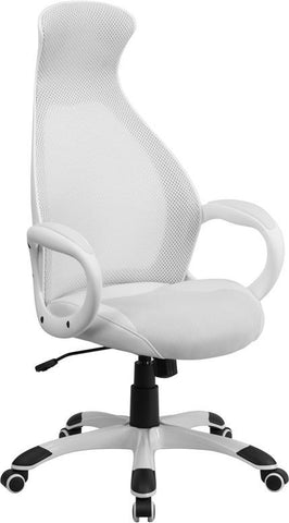 Flash Furniture CH-CX0528H01-WH-LEA-GG High Back Executive White Mesh Chair with Leather Inset Seat - Peazz Furniture