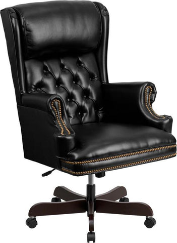 Flash Furniture CI-J600-BK-GG High Back Traditional Tufted Black Leather Executive Office Chair - Peazz Furniture