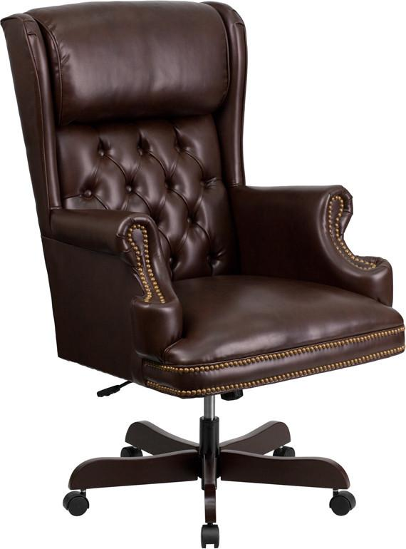 Traditional | Executive | Furniture | Leather | Tufted | Office | Flash | Brown | Chair | Back | High