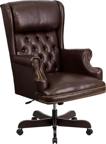 Flash Furniture CI-J600-BRN-GG High Back Traditional Tufted Brown Leather Executive Office Chair - Peazz Furniture