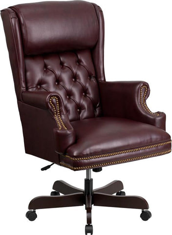 Flash Furniture CI-J600-BY-GG High Back Traditional Tufted Burgundy Leather Executive Office Chair - Peazz Furniture