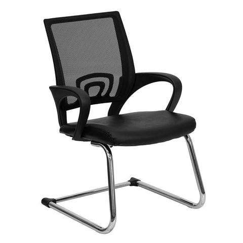 Black Leather Office Side Chair with Black Mesh Back and Sled Base CP-D119A01-BK-GG by Flash Furniture - Peazz Furniture