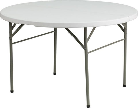 Flash Furniture DAD-122RZ-GG 48'' Round Bi-Fold Granite White Plastic Folding Table - Peazz Furniture
