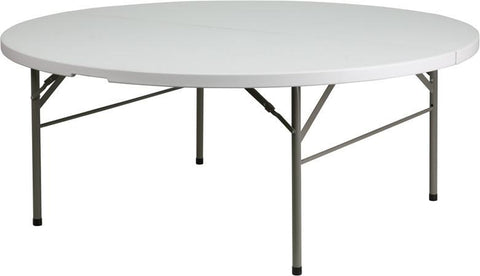 Flash Furniture DAD-183RZ-GG 72'' Round Bi-Fold Granite White Plastic Folding Table - Peazz Furniture