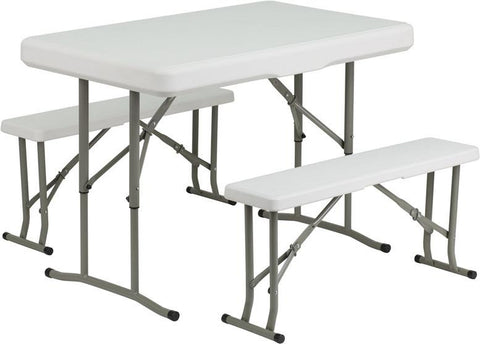Flash Furniture DAD-YCZ-103-GG Plastic Folding Table and Benches - Peazz Furniture