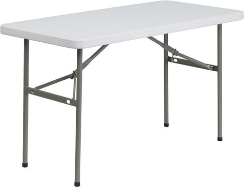 Flash Furniture DAD-YCZ-122-2-GG 24''W x 48''L Granite White Plastic Folding Table - Peazz Furniture