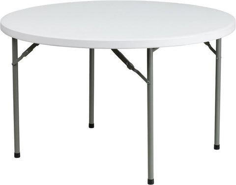 Flash Furniture DAD-YCZ-122R-GG 48'' Round Granite White Plastic Folding Table - Peazz Furniture